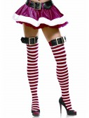 Red/White Striped Stockings w/Belt Buckle, halloween costume (Red/White Striped Stockings w/Belt Buckle)