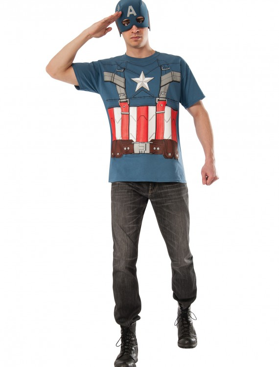 Retro Captain America T-Shirt and Mask, halloween costume (Retro Captain America T-Shirt and Mask)