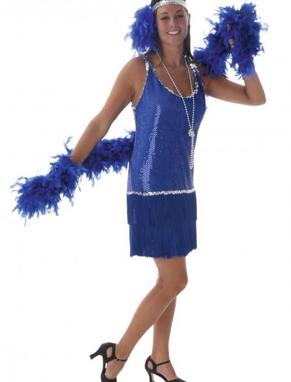 Royal Blue Sequin & Fringe Flapper Dress, halloween costume (Royal Blue Sequin & Fringe Flapper Dress)