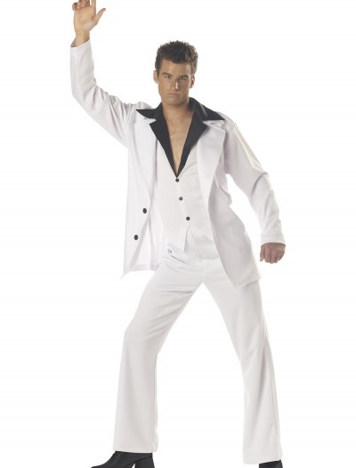 Men's White Disco Suit Costume, halloween costume (Men's White Disco Suit Costume)
