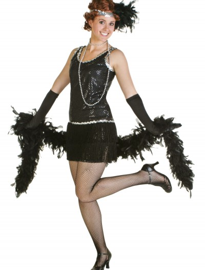 Sequin & Fringe Black Flapper Dress, halloween costume (Sequin & Fringe Black Flapper Dress)