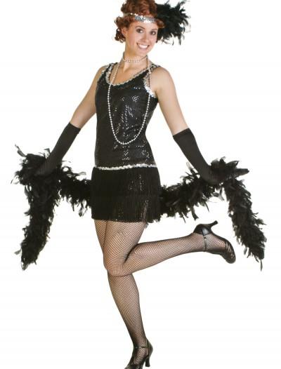 Sequin & Fringe Black Flapper Dress, halloween costume (Sequin & Fringe Black Flapper Dress)