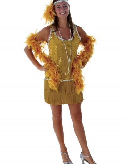 Sequin & Fringe Gold Flapper Costume, halloween costume (Sequin & Fringe Gold Flapper Costume)