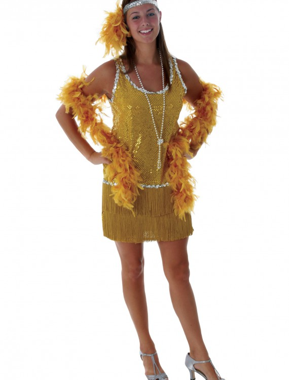 Sequin & Fringe Gold Flapper Costume, halloween costume (Sequin & Fringe Gold Flapper Costume)