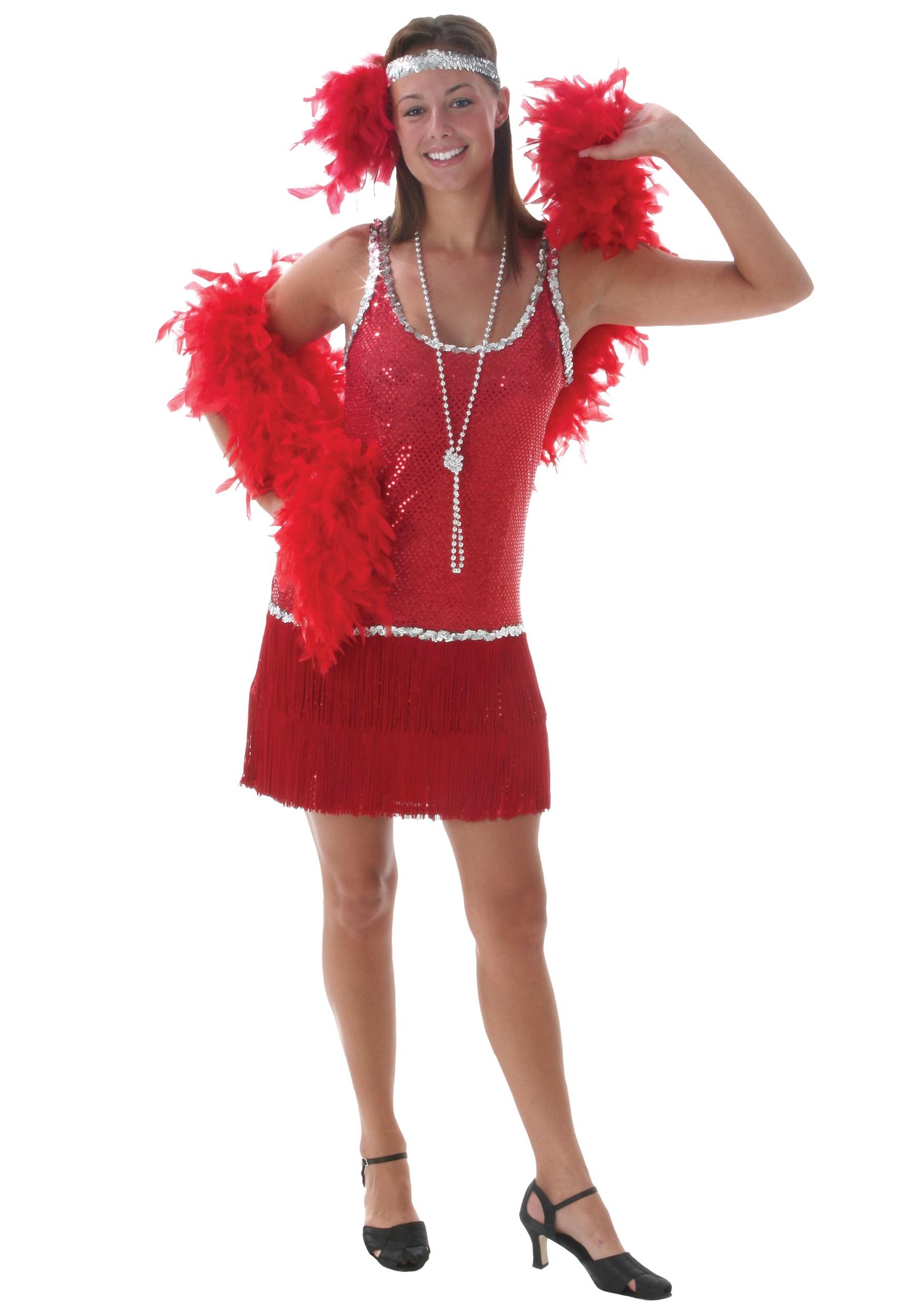 Sequin & Fringe Red Flapper Costume - Halloween Costumes