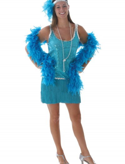 Sequin & Fringe Turquoise Flapper, halloween costume (Sequin & Fringe Turquoise Flapper)