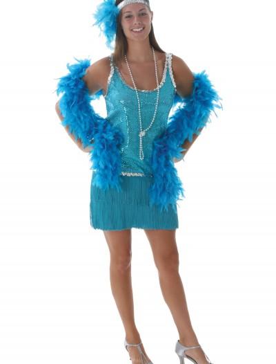 Sequin & Fringe Turquoise Flapper, halloween costume (Sequin & Fringe Turquoise Flapper)