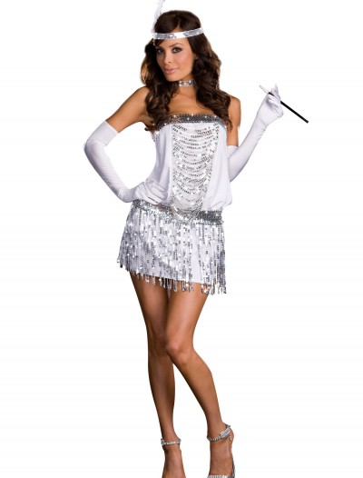Sexy Silver Flapper Costume, halloween costume (Sexy Silver Flapper Costume)