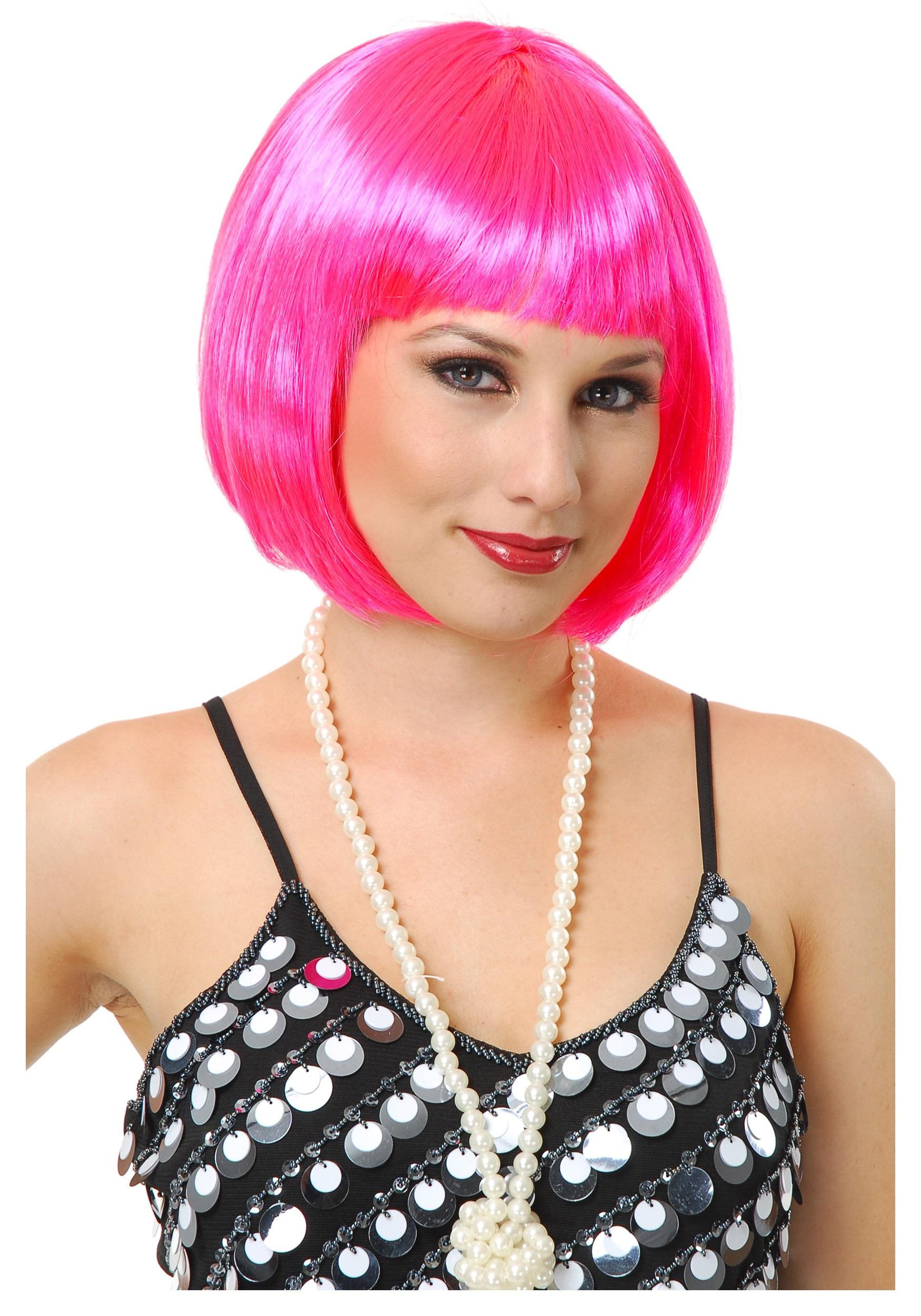 Gay Pride Halloween Costume.Short Bob Hot Pink Wig