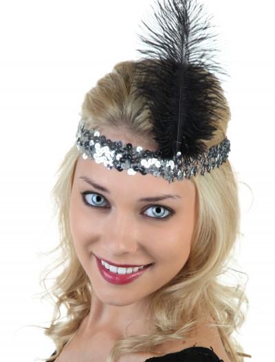 Silver and Black Flapper Headband, halloween costume (Silver and Black Flapper Headband)