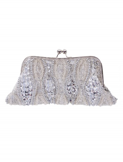 Silver Beaded Bag with Long Chain, halloween costume (Silver Beaded Bag with Long Chain)