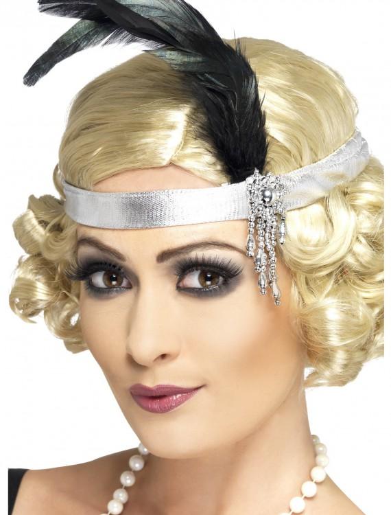 Silver Flapper Headband, halloween costume (Silver Flapper Headband)