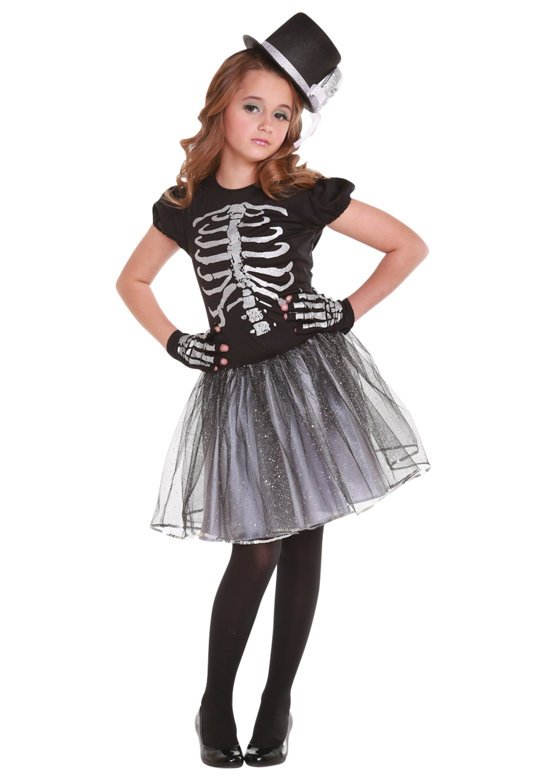Girls Silver Skeleton Costume  sc 1 st  Halloween Costumes & Girls Silver Skeleton Costume - Halloween Costumes