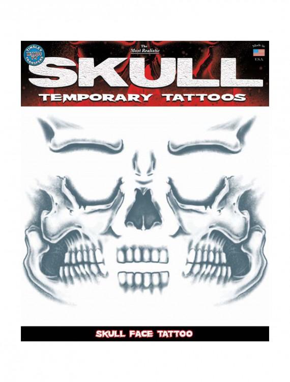 Skull Face Temporary Tattoo, halloween costume (Skull Face Temporary Tattoo)