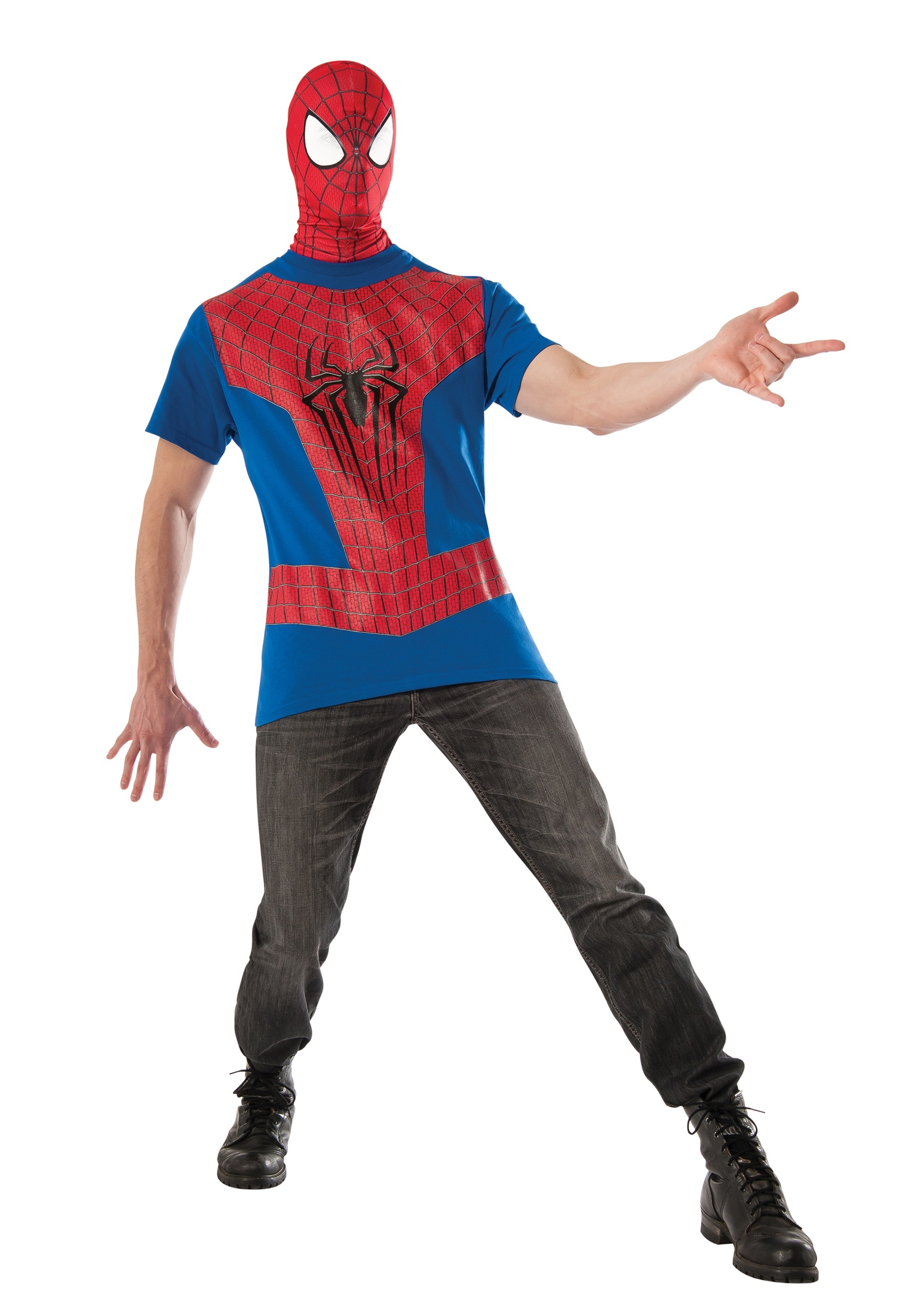 Spider Man Halloween Costume Adults.Spiderman Shirt And Mask