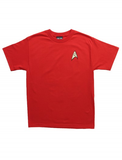 Star Trek Engineering Uniform On Red TShirt, halloween costume (Star Trek Engineering Uniform On Red TShirt)