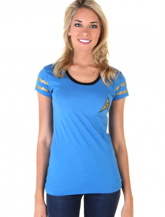 Star Trek Starfleet Blue Juniors Costume T-Shirt, halloween costume (Star Trek Starfleet Blue Juniors Costume T-Shirt)