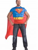 Superman Adult Muscle Chest Shirt, halloween costume (Superman Adult Muscle Chest Shirt)