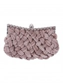 Taupe Braided Chiffon Bag with Long Chain, halloween costume (Taupe Braided Chiffon Bag with Long Chain)