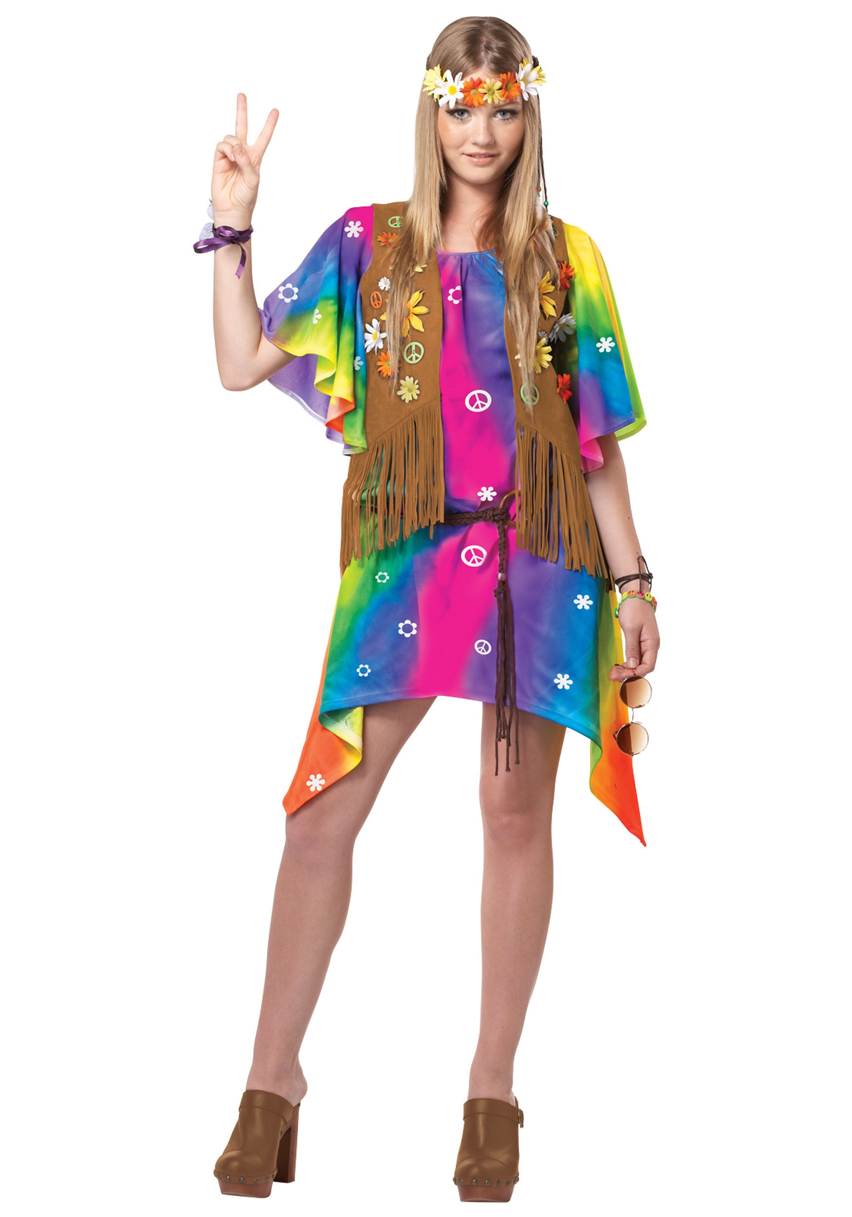 Teen Groovy Girl Hippie Costume  sc 1 st  Halloween Costumes & Teen Groovy Girl Hippie Costume - Halloween Costumes