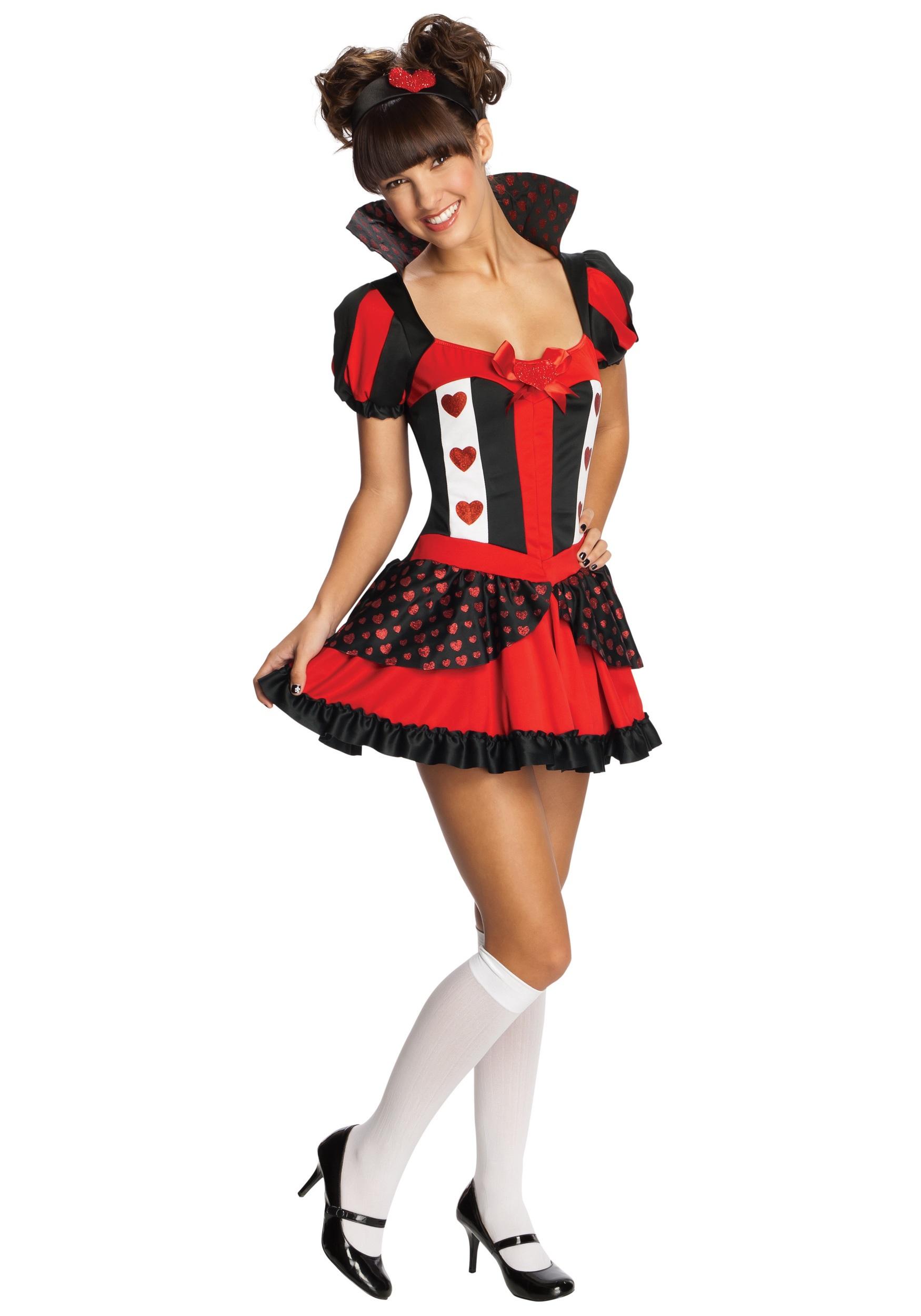 teen sassy queen of hearts costume