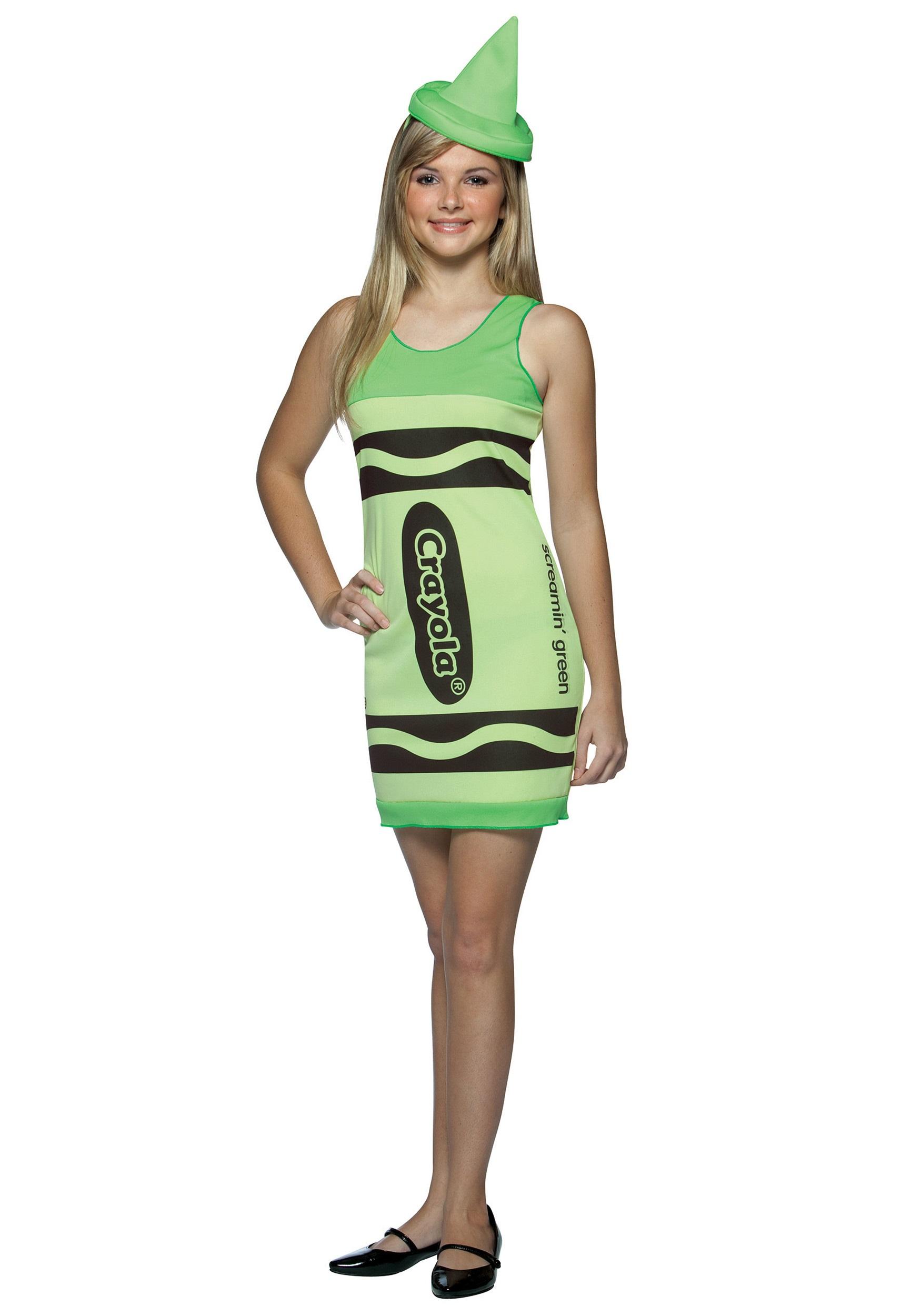 Teen Screaminu0027 Green Crayon Dress  sc 1 st  Halloween Costumes & Teen Screaminu0027 Green Crayon Dress - Halloween Costumes