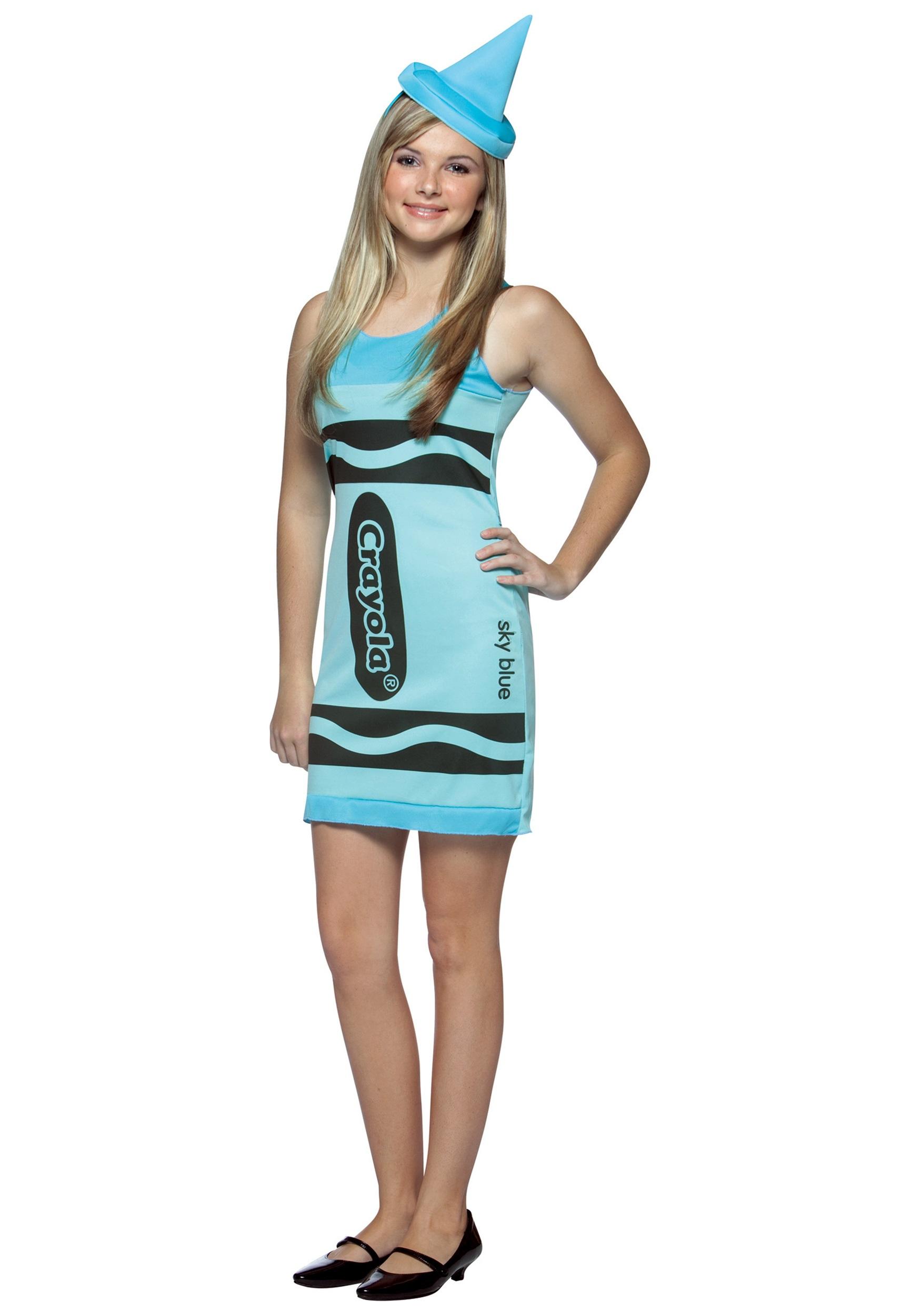 Teen Sky Blue Crayon Dress - Halloween Costumes