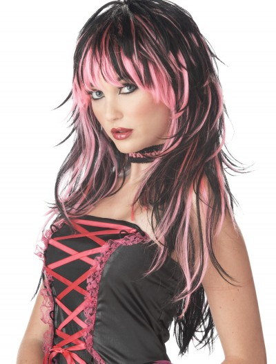 Tempting Tresses Pink/Black Wig, halloween costume (Tempting Tresses Pink/Black Wig)