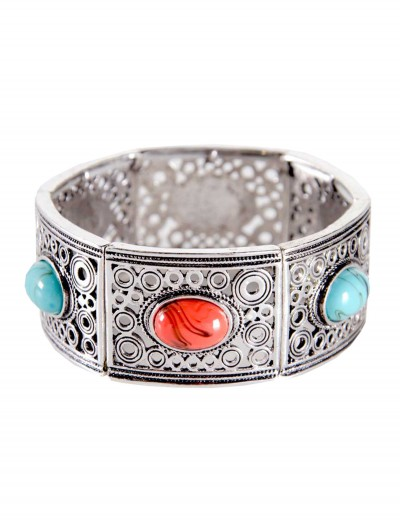 Turquoise and Coral Stone Silver Bracelet, halloween costume (Turquoise and Coral Stone Silver Bracelet)
