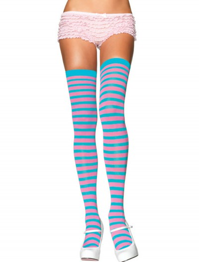 Turquoise / Pink Striped Stockings, halloween costume (Turquoise / Pink Striped Stockings)