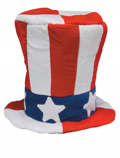 Velvet Uncle Sam Top Hat, halloween costume (Velvet Uncle Sam Top Hat)