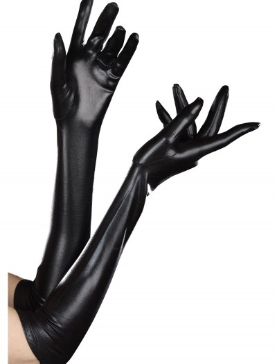 Wet Look Black Gloves, halloween costume (Wet Look Black Gloves)