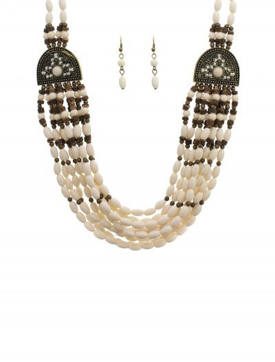 White Beaded Indian Necklace and Earrings, halloween costume (White Beaded Indian Necklace and Earrings)