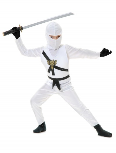 White Child Ninja Costume, halloween costume (White Child Ninja Costume)
