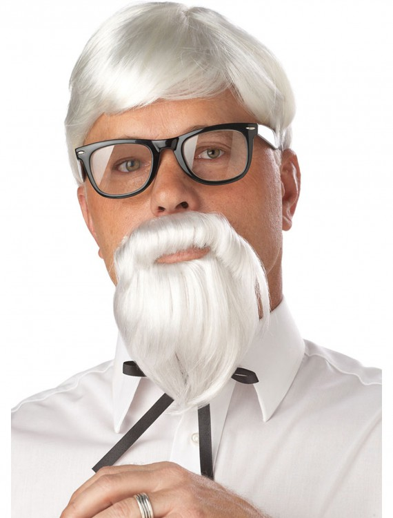 White Colonel Wig and Moustache, halloween costume (White Colonel Wig and Moustache)
