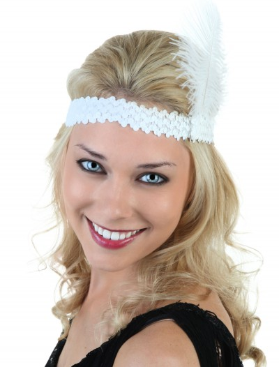White Flapper Headband, halloween costume (White Flapper Headband)