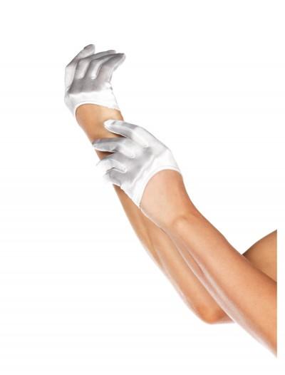 White Mini Cropped Satin Gloves, halloween costume (White Mini Cropped Satin Gloves)