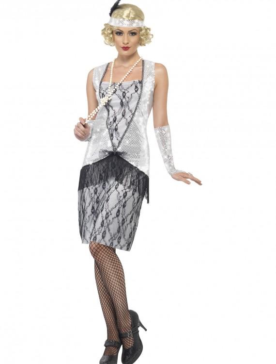 Women's 1920s Silver Flapper Costume, halloween costume (Women's 1920s Silver Flapper Costume)