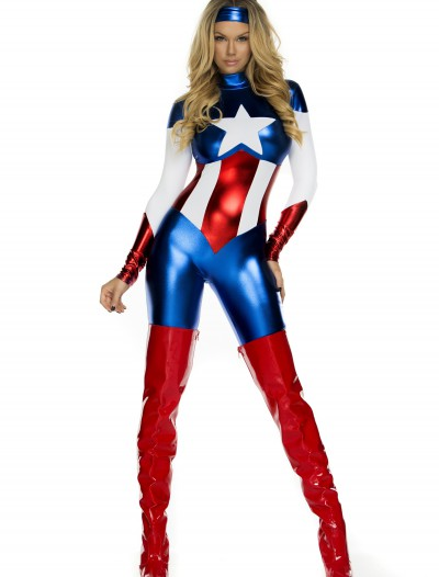 Womens American Beauty Superhero Costume, halloween costume (Womens American Beauty Superhero Costume)