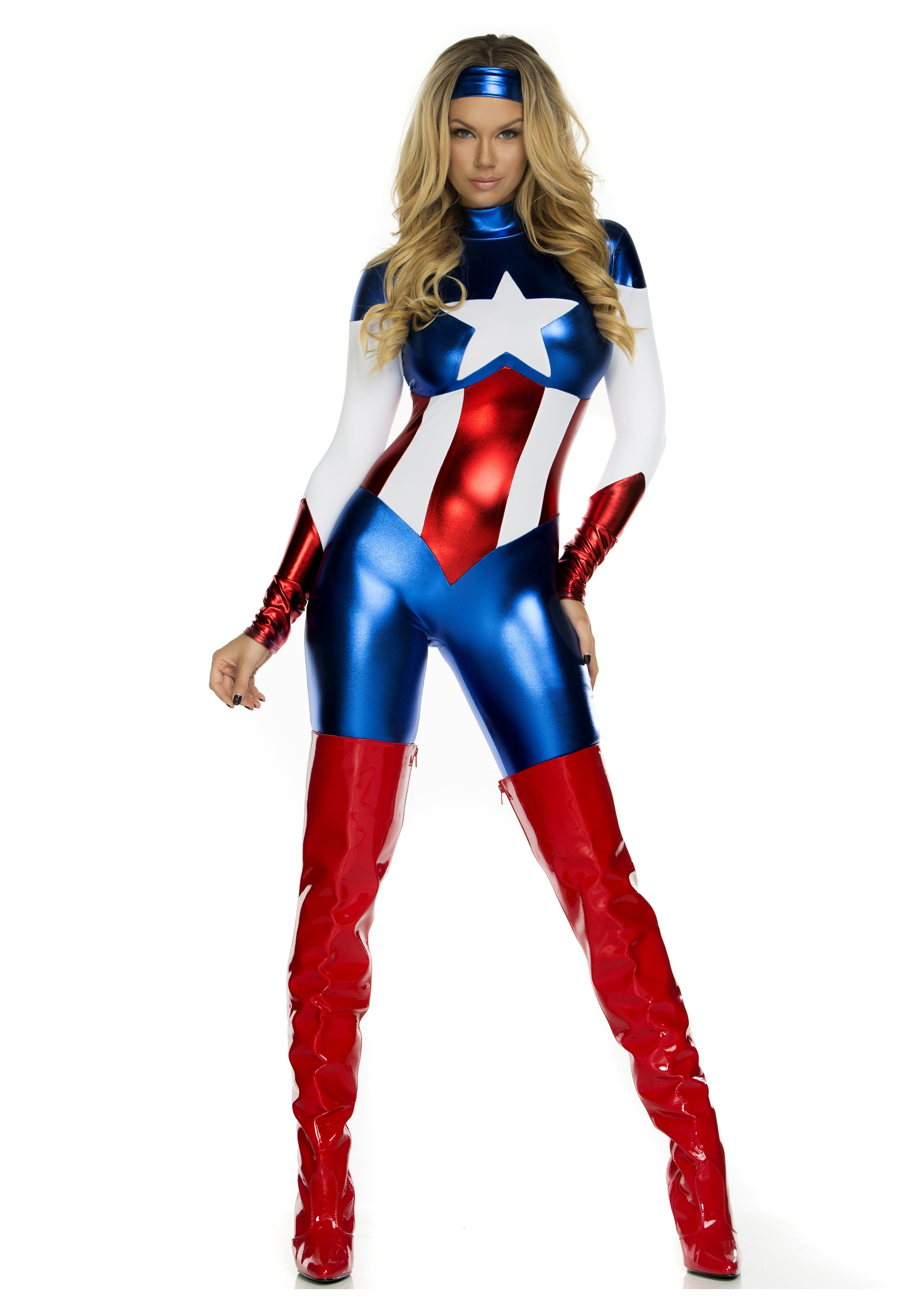 Womens American Beauty Superhero Costume  sc 1 st  Halloween Costumes : captain america womens halloween costume  - Germanpascual.Com