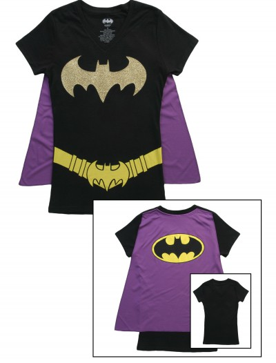 Womens Batgirl Cape T-Shirt, halloween costume (Womens Batgirl Cape T-Shirt)