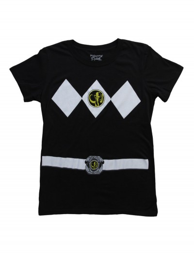 Womens Black Power Rangers Costume T-Shirt, halloween costume (Womens Black Power Rangers Costume T-Shirt)