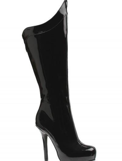 Womens Black Superhero Boots, halloween costume (Womens Black Superhero Boots)