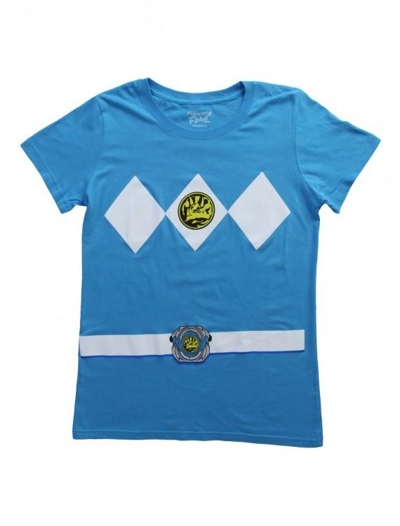 Womens Blue Power Rangers Costume T-Shirt, halloween costume (Womens Blue Power Rangers Costume T-Shirt)