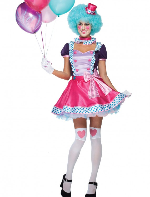 Womens Bubble Gum Clown Costume, halloween costume (Womens Bubble Gum Clown Costume)