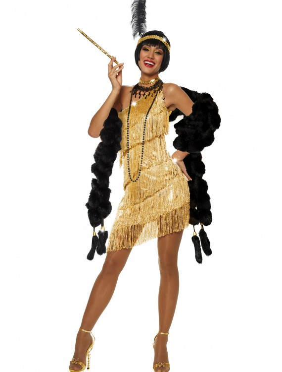 Women's Dazzling Gold Flapper Costume, halloween costume (Women's Dazzling Gold Flapper Costume)