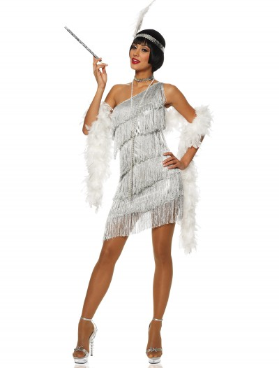 Women's Dazzling Silver Flapper Dress, halloween costume (Women's Dazzling Silver Flapper Dress)