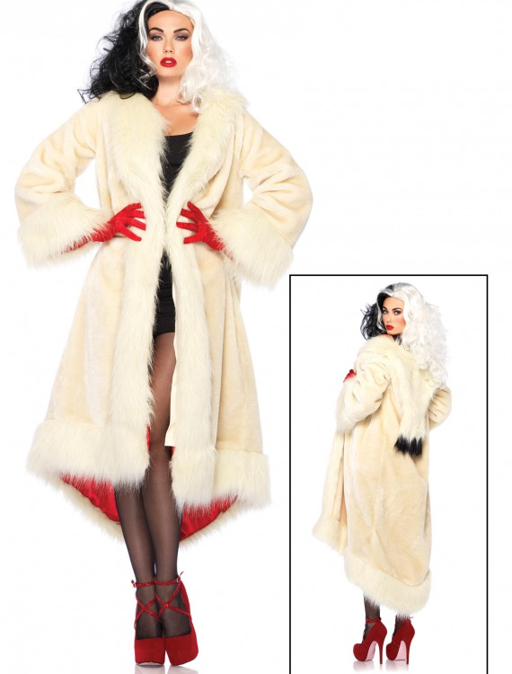 Women's Disney Cruella Coat Costume, halloween costume (Women's Disney Cruella Coat Costume)