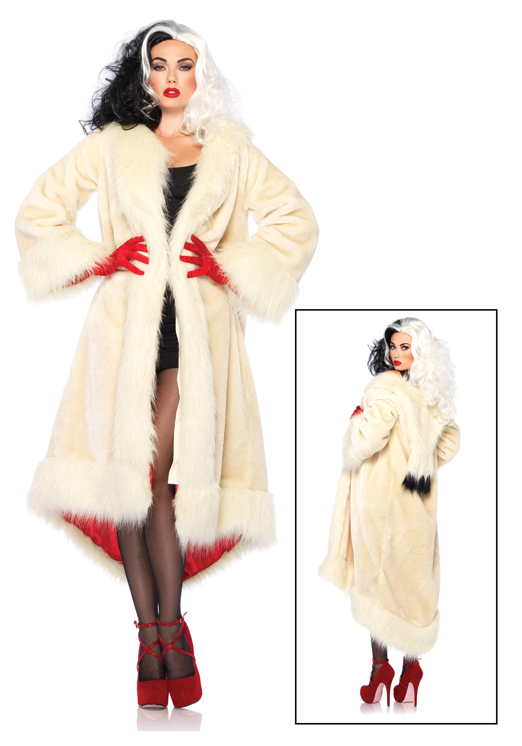Womenu0027s Disney Cruella Coat Costume  sc 1 st  Halloween Costumes & Womenu0027s Disney Cruella Coat Costume - Halloween Costumes