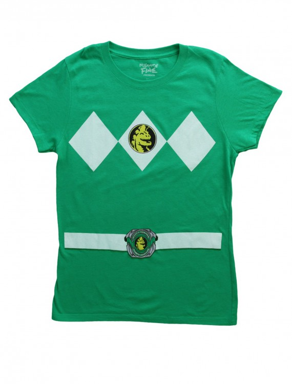Womens Green Power Ranger Costume T-Shirt, halloween costume (Womens Green Power Ranger Costume T-Shirt)